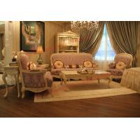 Parquetry and Golden Decortation in Wooden Carving Frame with Fabric Upholstery Sofa Manufactures