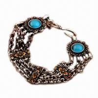 Retro bracelet, made of alloy, with silver plating Manufactures