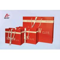 Red Art Paper Bags / Colored Paper Gift Bags Middle Hole Glued White Ribbon Manufactures