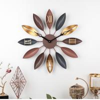 China Home creative retro leaf wrought iron decor wall clock Vintage Gold Copper Metal Wall Decorative Clock on sale
