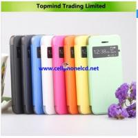 China Open Windows Book Type Leather Case with Transparent PC Back Cover for iPhone 5S on sale