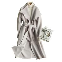 Medium Double Faced Wool Blend Winter Coat For Women with Metal Circular Ring Belt Manufactures