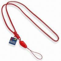 0.5cm Diameter Red Zipper Lanyard, Made of Plastic, Available in Various Colors and Strands Manufactures