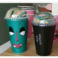 FDA Plastic Coffee Cups Disposable Insulated Beverage With Plastic Lid and lable printing Manufactures