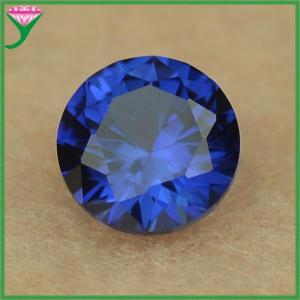high quality 5mm round shape #34 lab created blue sapphire corundum loose gemstone Manufactures
