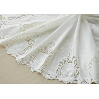 Cotton White Crochet Lace Fabric / Embroidered Lace Fabric For Home Textile 130cm Manufactures