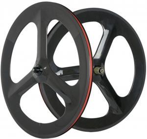 23mm Width Track Bicycle Wheels 3 Spokes 3k Matte Finish V Brake T800 Manufactures