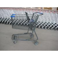 Supermarket Wire Shopping Basket With Wheels , Commercial Shopping Trolley