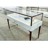 Free 3D Design Glass Store Display Case Milk White Color Hidden LED Strip Lighting Manufactures