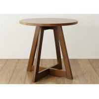 China Family Walnut Solid Wood End Tables , Economic Circular Side Table Simple Style on sale