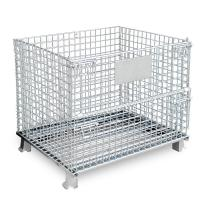 Galvanized Wire Mesh Cages , Collapsible Stacking Metal Storage Cage Anticorrosion