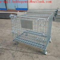 folding storage cages with castors used for supermarket ane warehouse/ Pallet Storage Wire Mesh Cage for sale