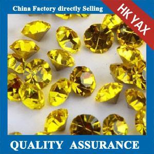 Free sample good quality citrine round point back rhinestone, chaton point back rhinestone, wholesale chaton rhinestone Manufactures