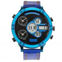 Leather strap Three Time analog digital watch best mens sport watches Manufactures