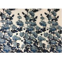 Bule Floral Embroidered Polyester Net Lace Fabric For Wedding Gown Dresses Manufactures