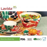 Non Toxic Tasteless Bamboo Salad Bowl Set Waterproof With Customized Prints Manufactures