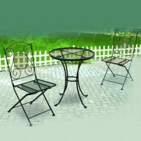 3pcs Iron Mesh Table and Folding Chair Set with Black Powder Coating Manufactures