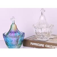 China Colored Crystal Sugar Pot Glass Jars For Candy Buffet / Glass Dessert Jars on sale