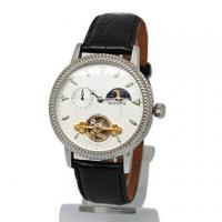 China Leather Skeleton Automatic Mechanical Watches For Men Stainless Steel on sale