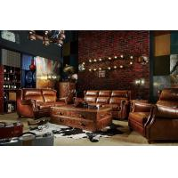 Modern Brown Leather Sectional Sofas , Tan Soft Leather Couch High Back Cushion Manufactures