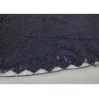 Navy Sequin Mesh Fabric , Embroidered Lace Fabric By The Yard For Evening Dresses Manufactures