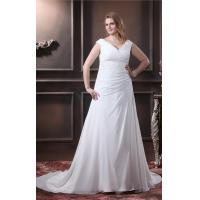 Elegant A Line V Neck Ruffle Wedding Dress Beading Chiffon Plus Size Designer Wedding Gowns Manufactures