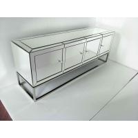 Four Doors Mirrored Tv Stand , Stainless Steel Mirrored Glass Tv Stand Manufactures