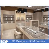 MDF Gray Beige Coating  Jewelry Shop Counter With Lights Lock Manufactures