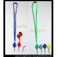 Quality Colorful solid badge reel and lanyard combo with clear vinyl strap for sale