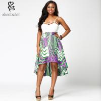 Fabric African Print High Waist Midi Skirts High Low Style For Summer / Spring Manufactures