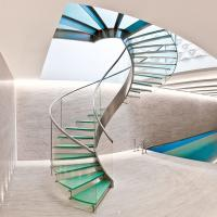 Interior glass spiral staircase with inox steel rod railing design Manufactures
