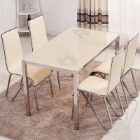China Powder Coating Glass Top Dining Room Table , Glass Dining Table And 4 Chairs on sale