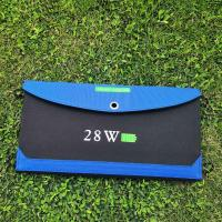 China Outdoor 28W Blue Foldable Solar Phone Charger for Laptops/Mobile Phones/DV/MP3/MP4 Players/PSP/PDA on sale