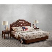 Leather / Fabric Upholstered Headboard Bed for Hotel Bedroom interior Furniture with Wooden nighstand in Cheap price Manufactures