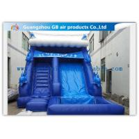China Blue Large Wet Inflatable Water Slide Into Pool For Water Amusement / Garden on sale