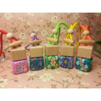 China square perfume glass bottle with polymer clay,hanging car air freshener on sale