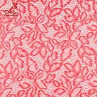 Comfortable Pink Embroidered Lace Fabric Dimensional High Stability Manufactures