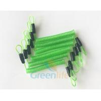 China 70CM Long Steel Wire Spring Spiral Coil Cable Transparent Green With Double Cord Loops for sale