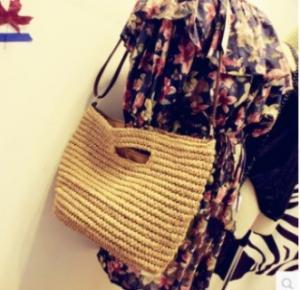 24738 Straw string straw bag, lady shoulder bag, beach straw bag Manufactures