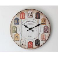 China Colorful Retro Arabic Numerals Style Vintage Wall Clock France Paris Colorful French Tuscan Style Creative Wood Clock on sale