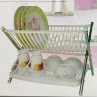 China Stainless Steel Kitchen Plate Rack Plastic Storage Holders White With PP on sale