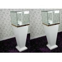 Modern Wood Glass White Exhibition Cabinets , Lockable Jewellery Display Cabinets Manufactures