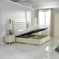 Quality Crystal buckle Upholstered Headboard with Storage cabinet Bed in Neoclassical for sale