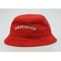 Unisex Red Fishing Bucket Hat Official 3D Puff Embroidery 56 - 60 Cm Manufactures
