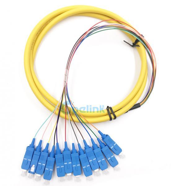 Quality SC/PC Boundle Distribution Fiber Cable SM 9/125 Fanout 0.9mm Optical Fiber Pigtail for sale