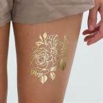 Golden Flower Design Fake Body Tattoo Sticker Art For Decoration Manufactures
