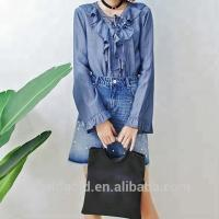 Breathable Young Ladies Long Ruffle Sleeves Tops Dark Blue Color Casual Style Manufactures