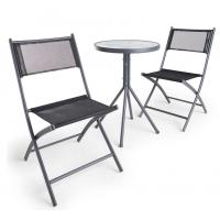 Black Bistro Set 3 Piece Table and Chairs Set with hardwearing woven fabric ceramic garden table set Manufactures