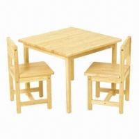 China Children's chair and table set, with 2 chairs and 1 table, made of MDF and pine on sale