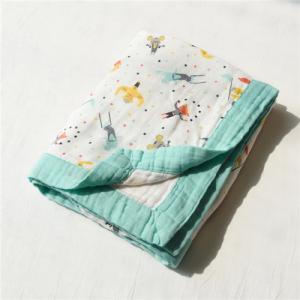 China Zero Formaldehyde Muslin Stroller Blanket / Lightweight Baby Cotton Swaddle Wraps on sale